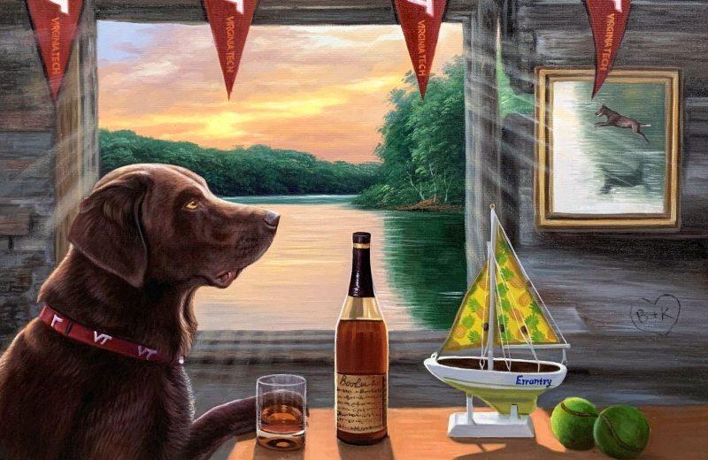 virginia tech cabin dog painting