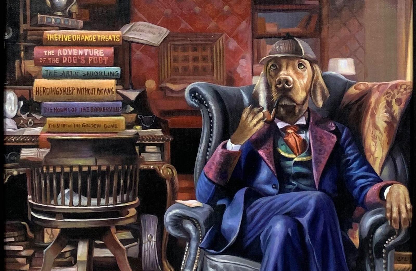 sherlock holmes dog painting