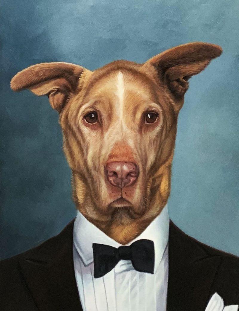 tuxedo dog painting