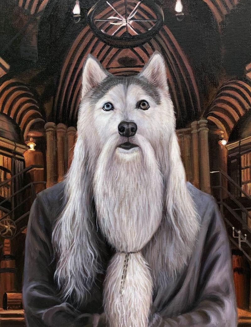 dumbledore dog painting