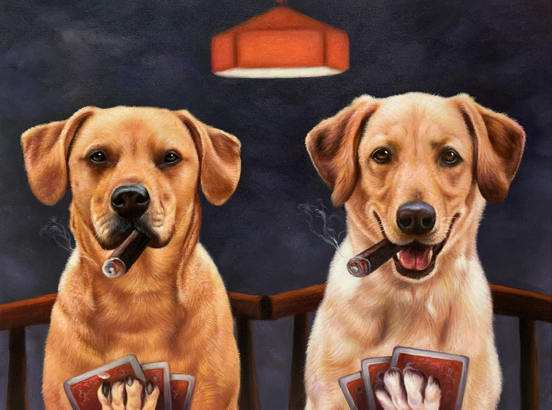 2 dogs playing poker painting