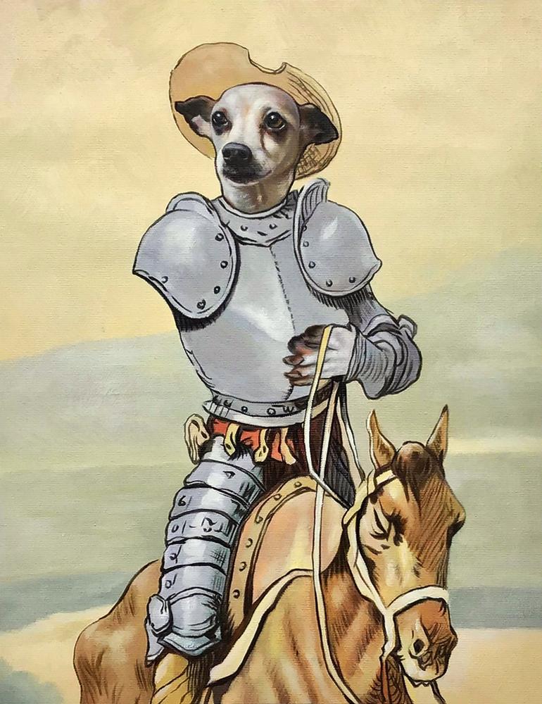 Don Quixote dog painting