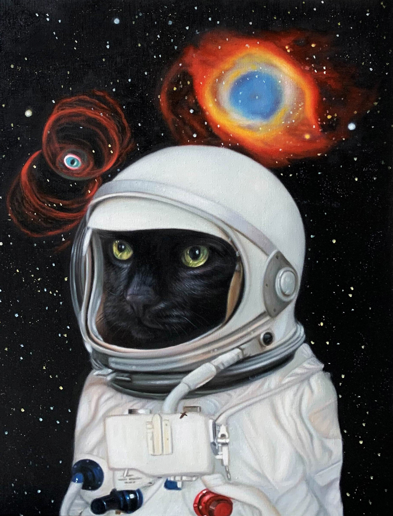 Spaceboy cat painting