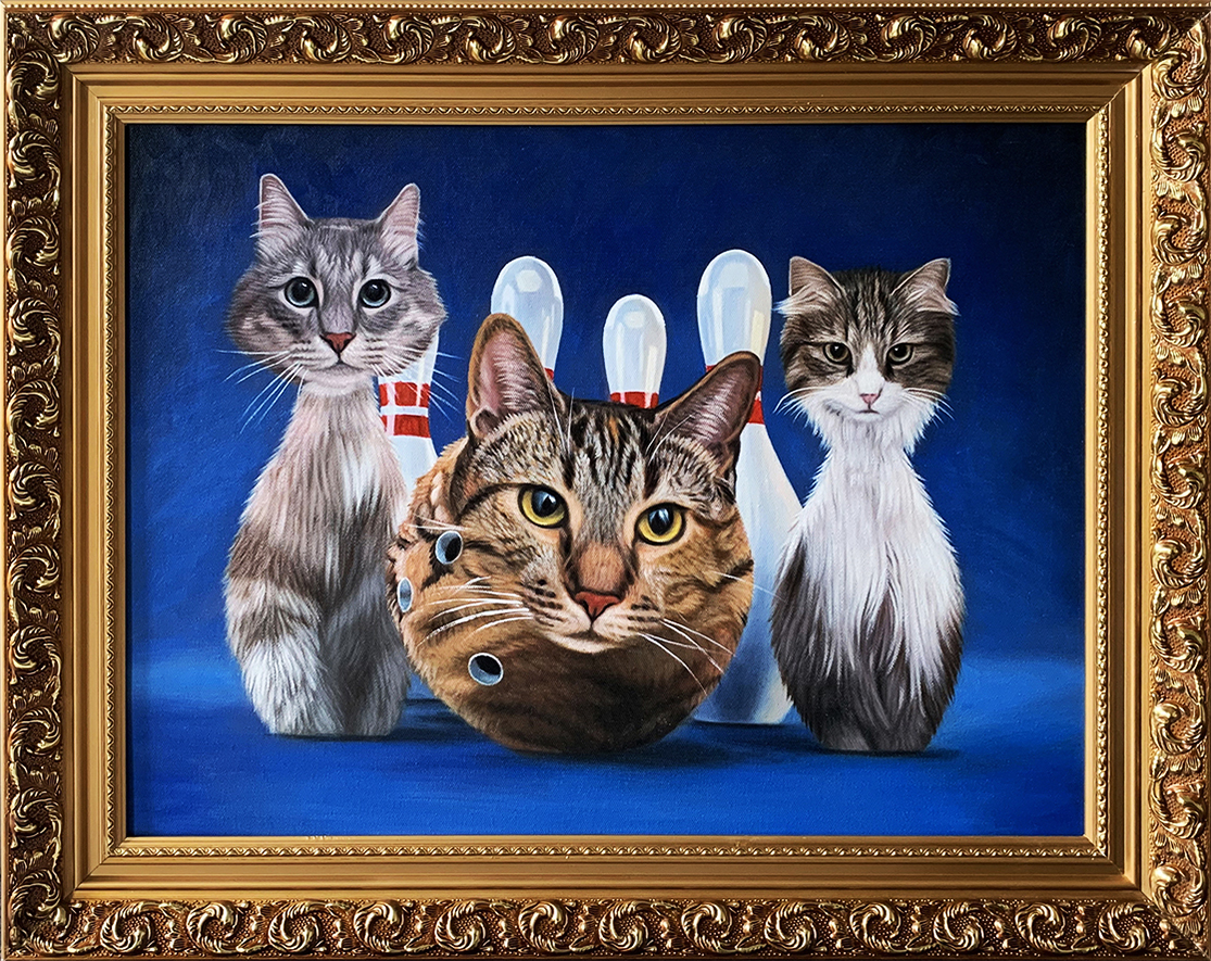abstract cat bowling painting