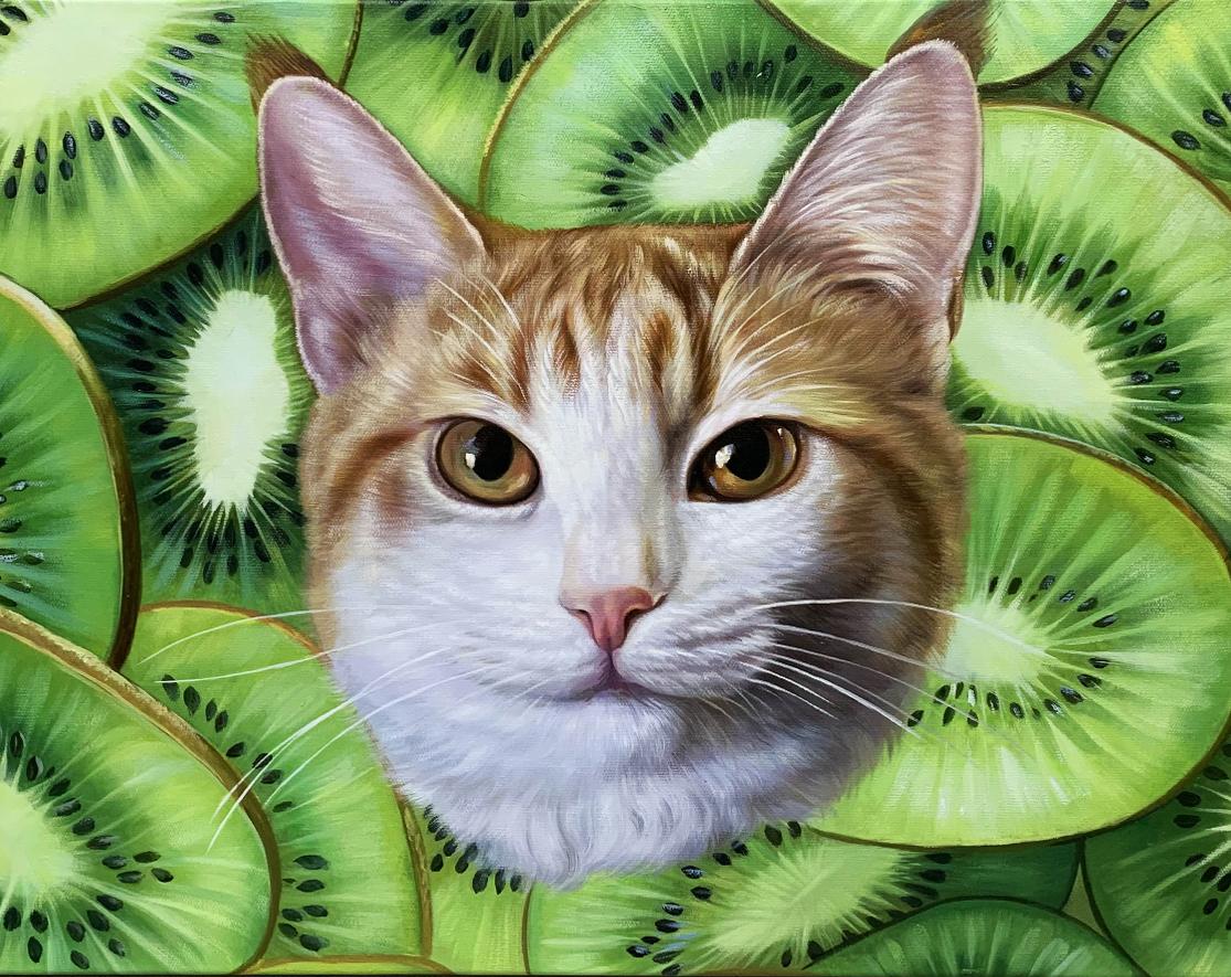 cat painting with kiwis