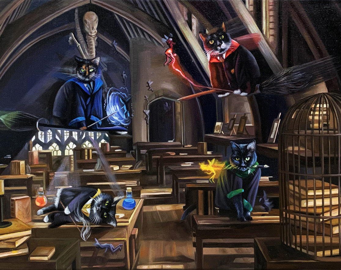 harry potter cat paintings