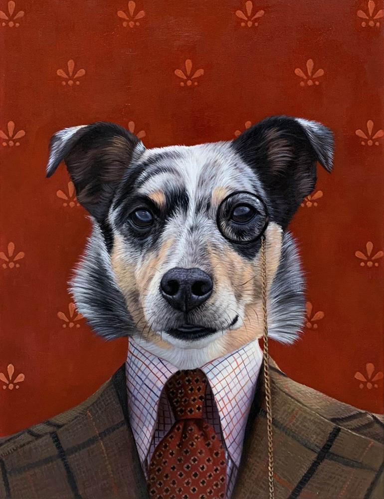professor dog painting