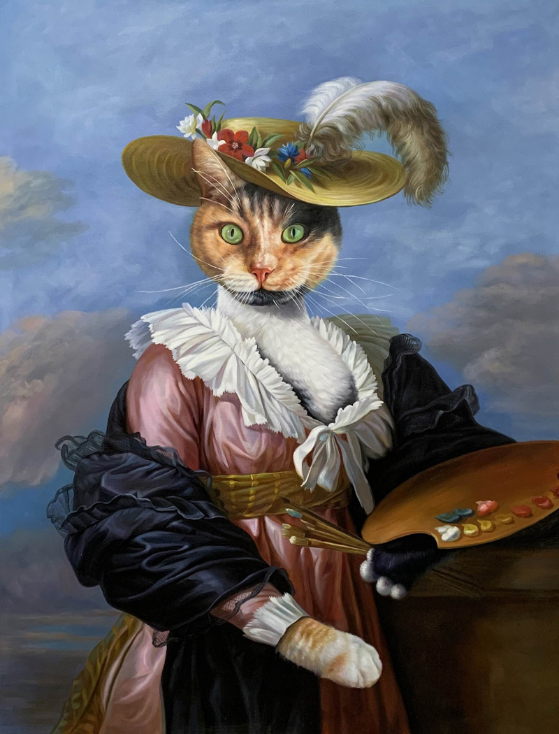 fancy cat with hat painting