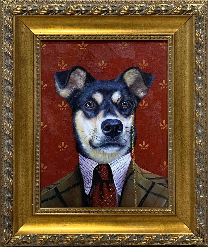 golden framed dog painting