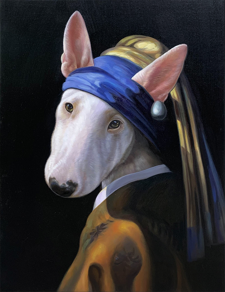 girl with a pearl earring dog portrait