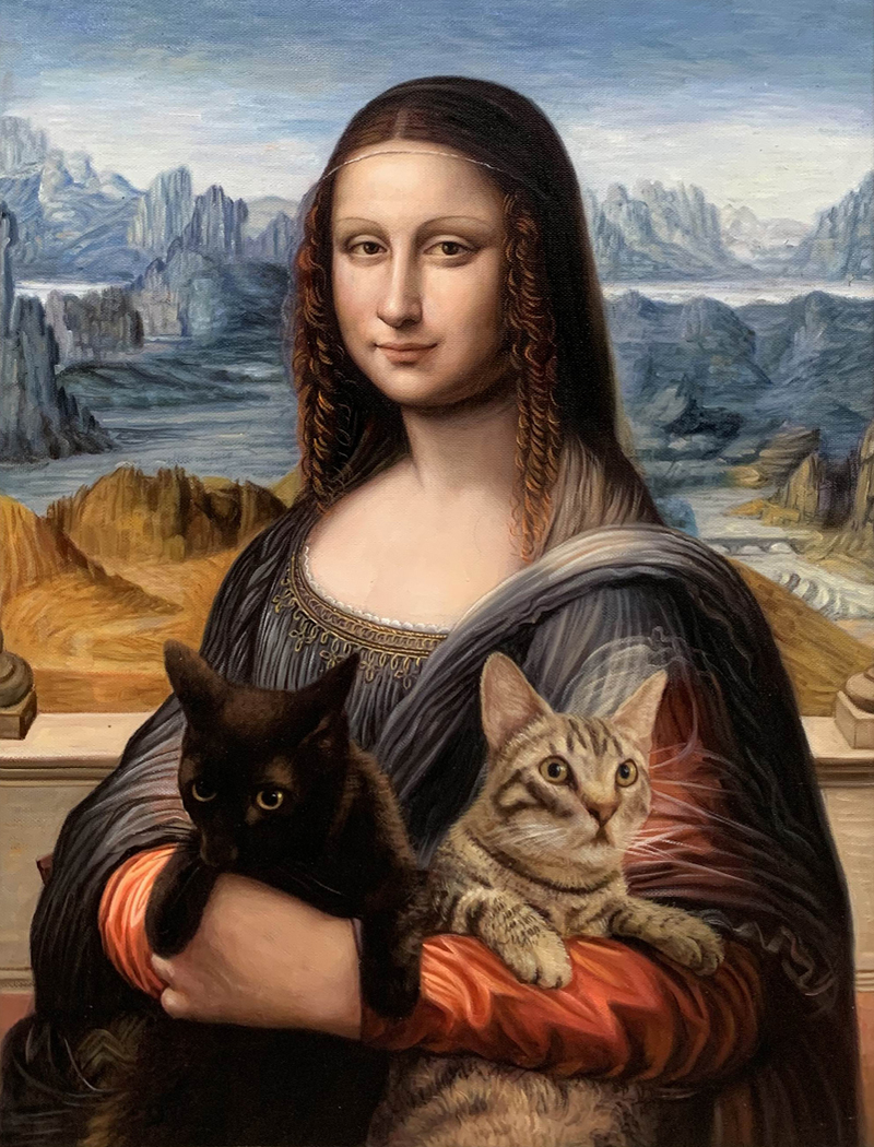 mona lisa painting with cats