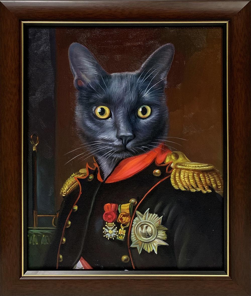 framed portrait of napoleon cat