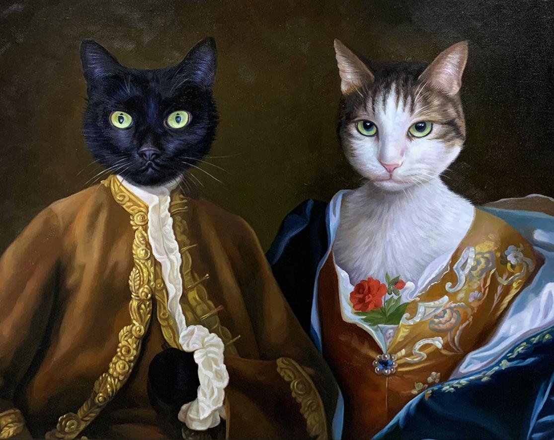 2 fancy cats portrait