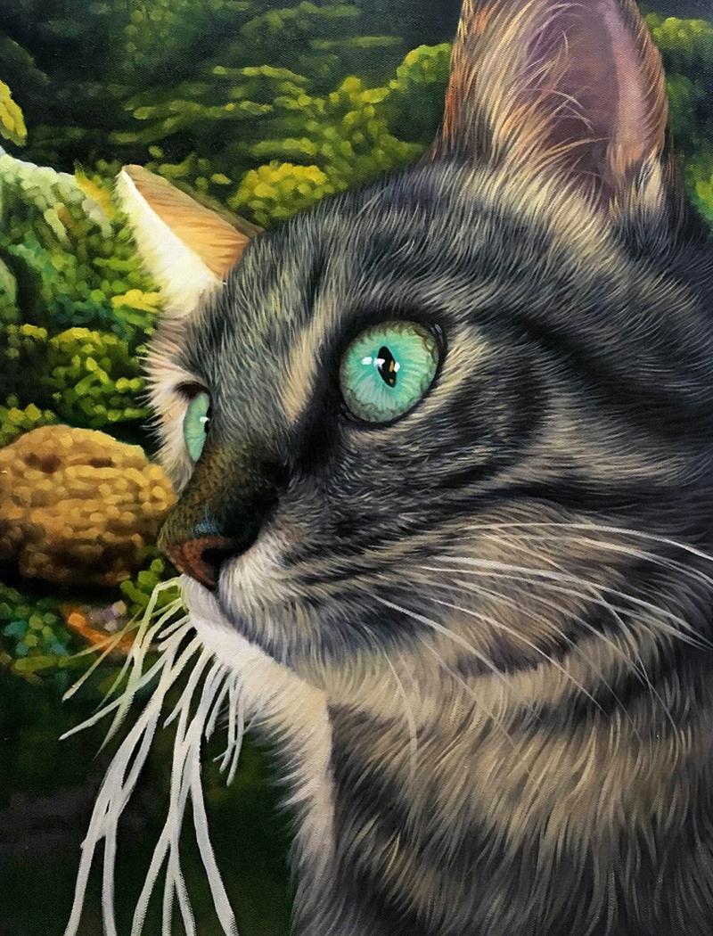 close up cat artwork oil paint