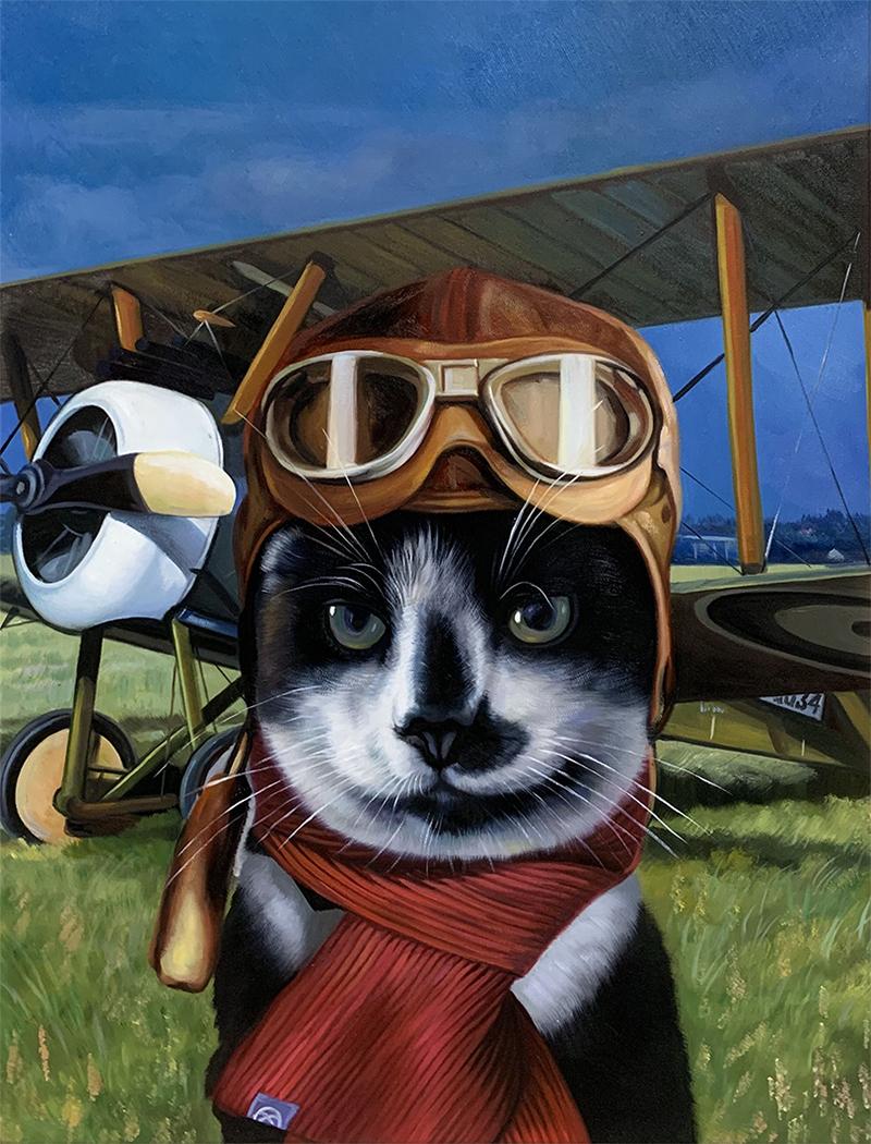 cat pilot painting
