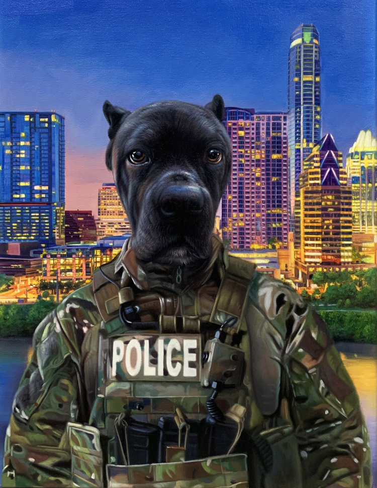 austin police dog painting