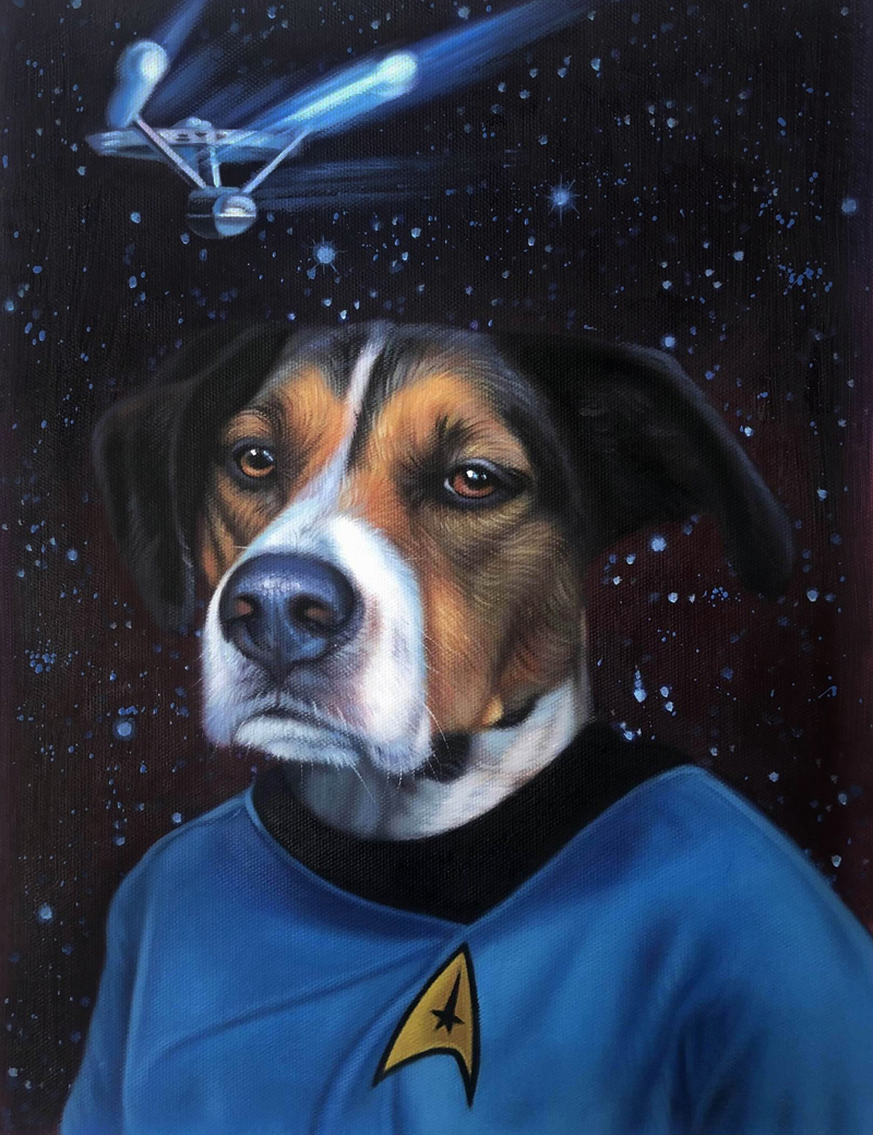 starfleet officer dog painting