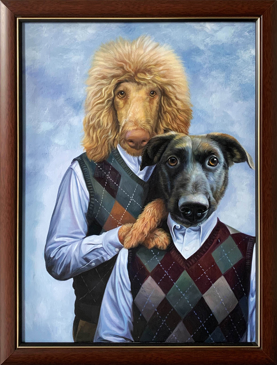 2 dogs posing for portrait