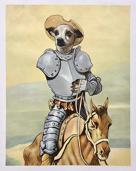 Don Quixote dog painting with horse