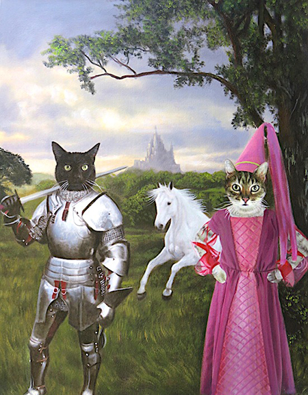 Knight and Princess Cats painting