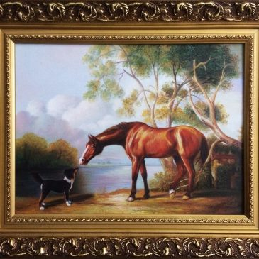 bay horse and dog horse painting