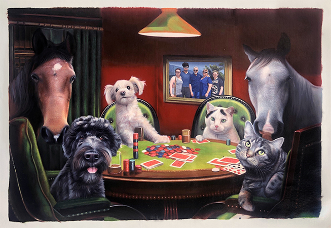 cats dogs horses playing poker painting