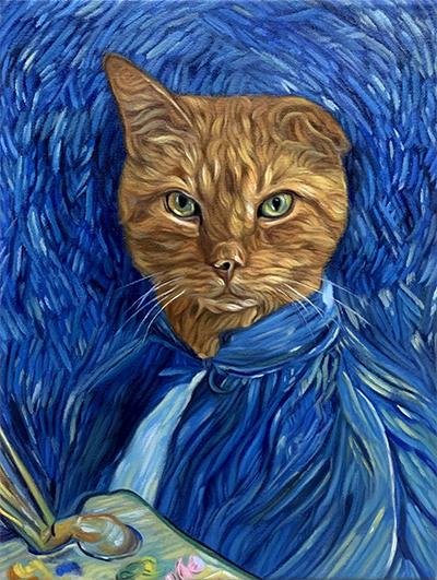 custom pet painting van gogh
