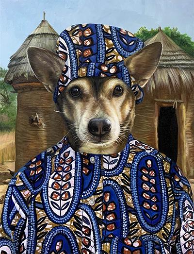 custom dog painting in Beninese bomba