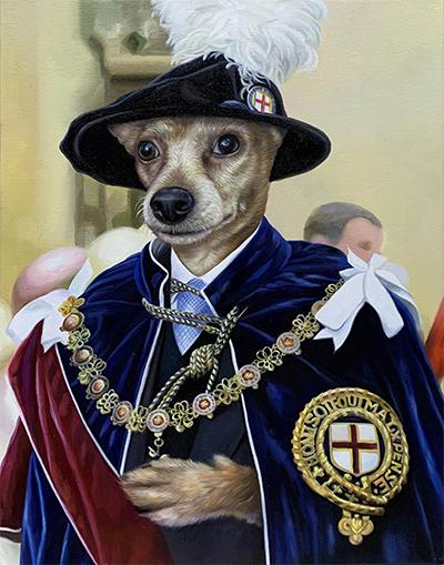 custom pet painting knight of the garter